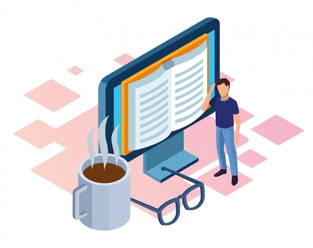 Homem de pé e computador com livro na tela, caneca de café e óculos