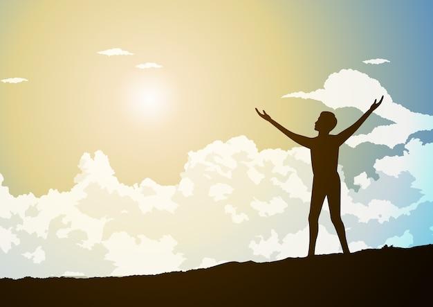 Homem de pé e espalhando as mãos que mostram esperança