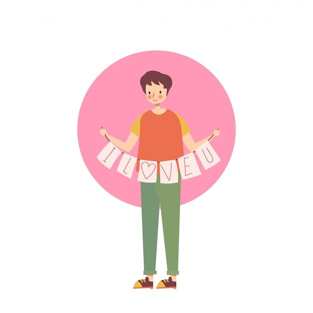 Homem de pé mantenha um eu te amo etiqueta ilustração vetorial