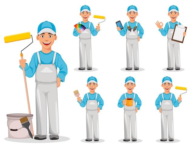 Homem de pintor, conjunto de sete poses