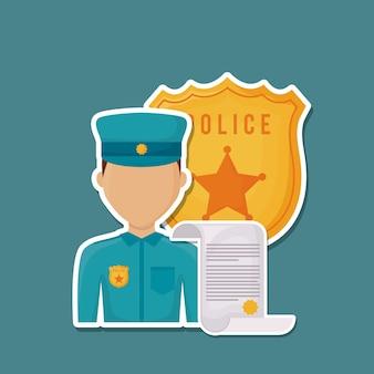 Homem de polícia de avatar e escudo