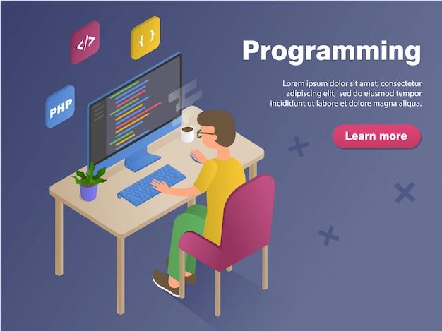 Homem de programador no banner do conceito de trabalho. ilustração em vetor isométrica plana