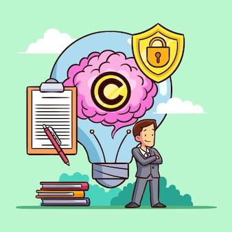 Homem de propriedade intelectual protegendo sua ideia