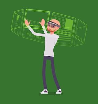 Homem de realidade aumentada e interface virtual
