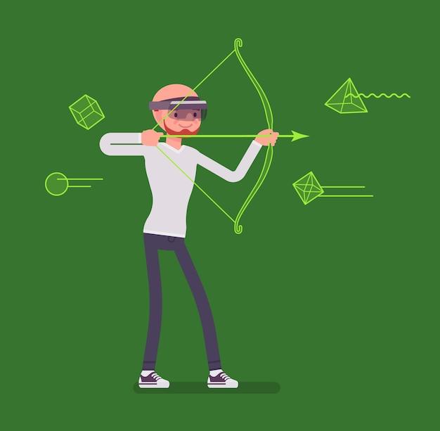 Homem de realidade aumentada no jogo de tiro com arco