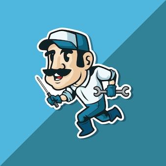 Homem de reparação de desenhos animados ou solução rápida. homem mecânico. mascote.