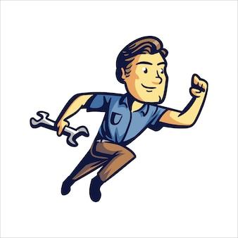 Homem de reparo dos desenhos animados ou solução rápida