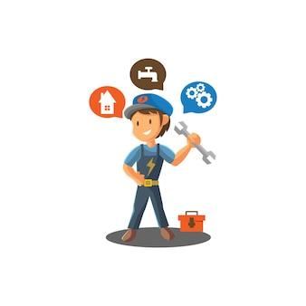 Homem de reparos, segurando a chave inglesa, trabalhador, oficina mecânica, emblema, emblema, ilustração da mascote