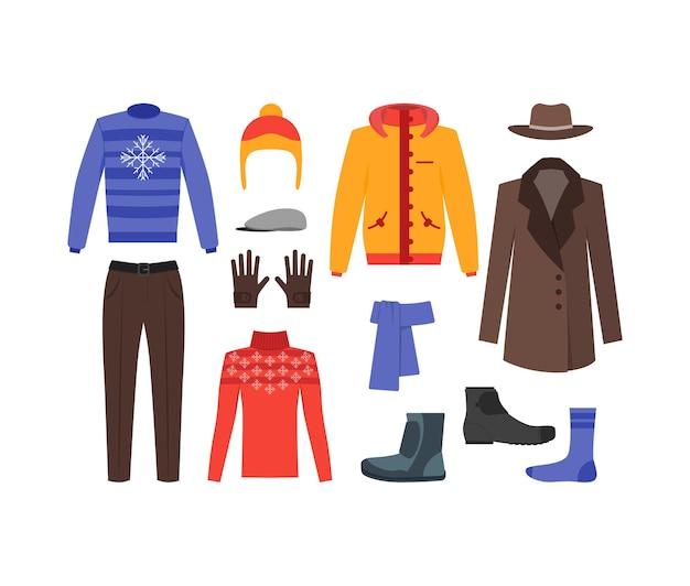 Homem de roupas de inverno definir moda estilo plano de compras sazonal.