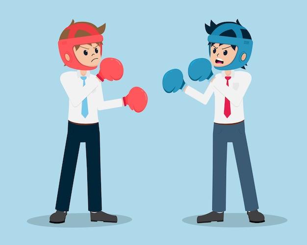 Homem de salário 01 está lutando boxers com concorrentes