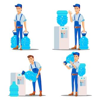 Homem de serviço de entrega de água