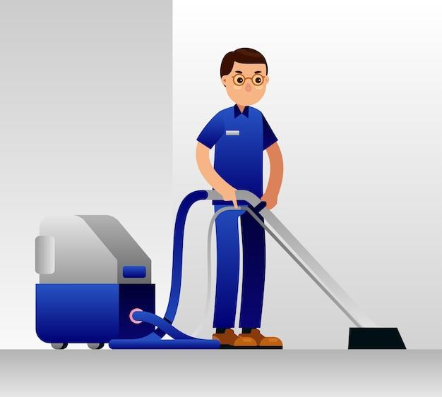 Homem de serviço de limpeza. piso, carpete, limpeza a vácuo