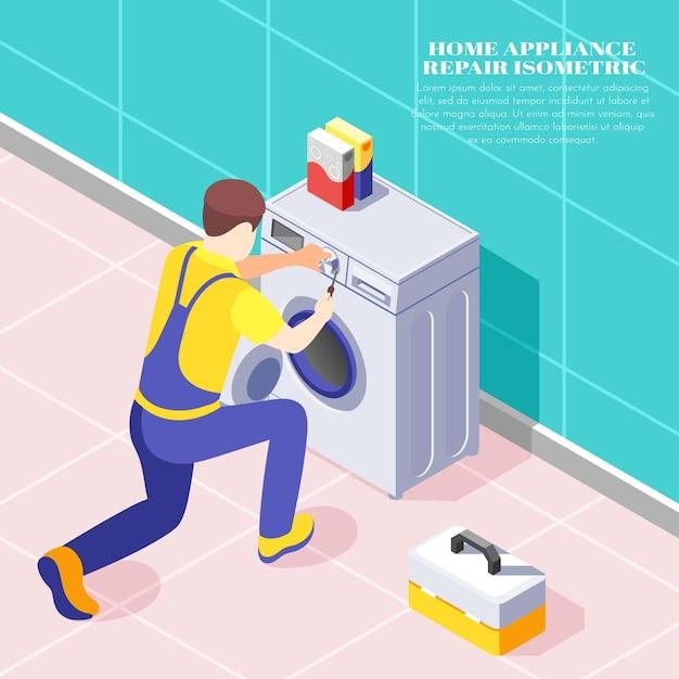 Homem de serviço de reparo em casa consertando composição isométrica de máquina de lavar roupa 3d