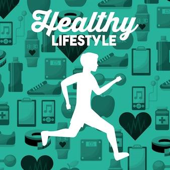 Homem de silhueta branca correndo fundo de ícones de esporte estilo de vida saudável