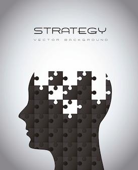 Homem de silhueta com ilustração vetorial de estratégia de quebra-cabeças