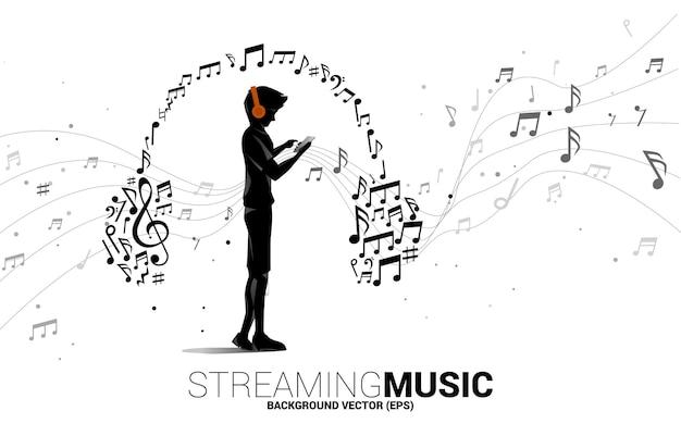 Homem de silhueta de vetor com telefone celular e fone de ouvido do fluxo de dança de nota de melodia de música. fundo do conceito para o tema da música e do concerto.