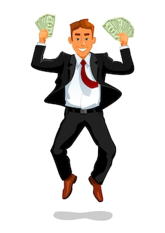 Homem de sorte com dinheiro pulando e rindo ilustração