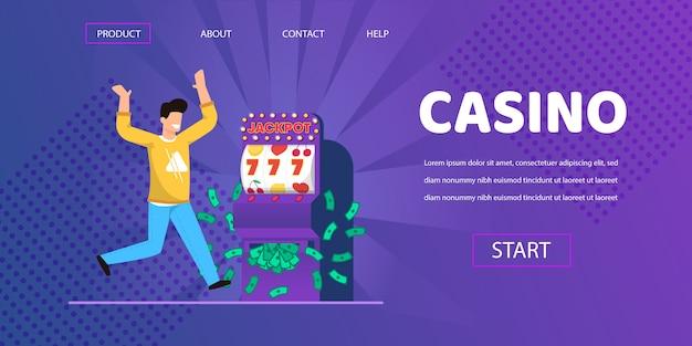 Homem de sorte ganhar dinheiro cash slot machine illustration