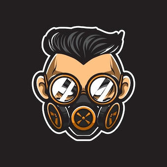 Homem de steampunk cabeça vector logo