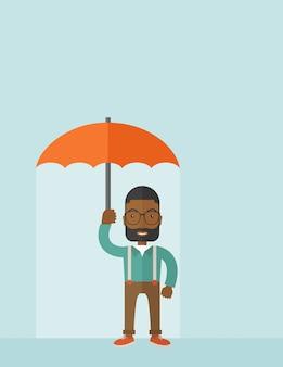 Homem de sucesso com guarda-chuva.