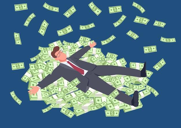 Homem de sucesso deitado na ilustração do conceito plana de dinheiro. empresário de terno com pilhas de dinheiro. personagem de desenho animado 2d tycoon para web design. ideia criativa de sucesso financeiro