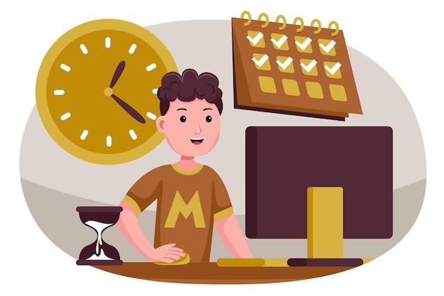 Homem de sucesso em tarefas e tempo de controle.