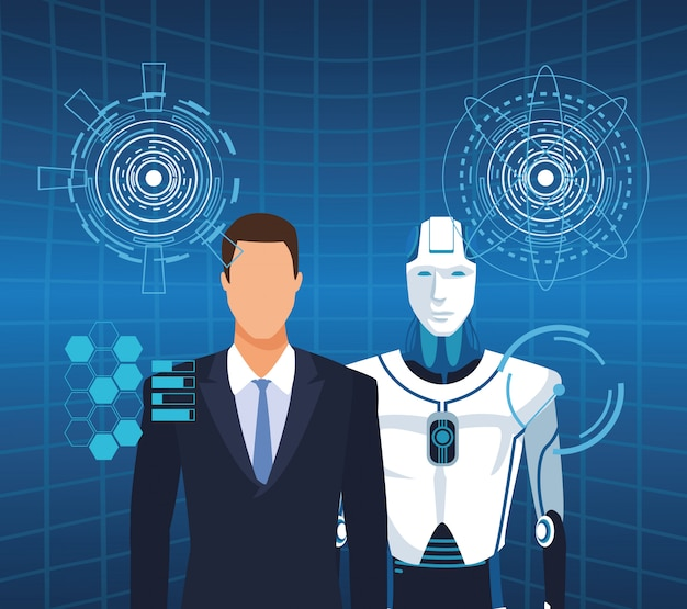 Homem de tecnologia de inteligência artificial e cyborg em realidade virtual