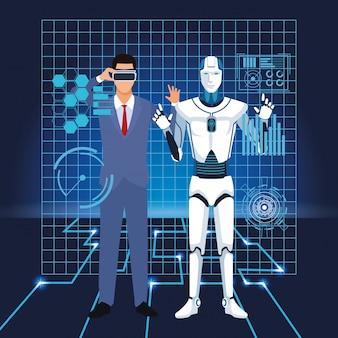 Homem de tecnologia de inteligência artificial usando óculos de proteção vr e interface de cyborg