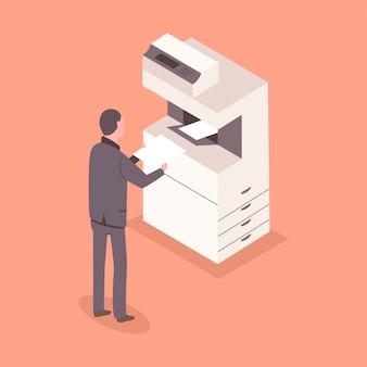 Homem de terno com um papel perto de uma impressora de escritório. ilustração de pessoal de negócios 3d isométrica plana.