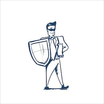 Homem de terno de negócios escudo de segurança e proteção