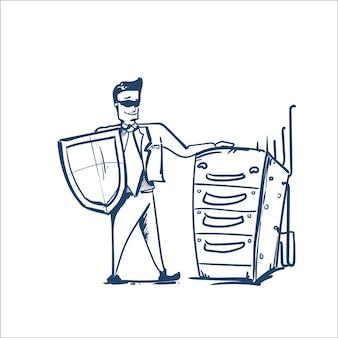 Homem de terno de negócios escudo em pé perto de cru de servidores