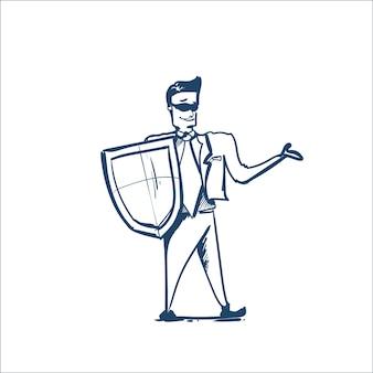 Homem de terno de negócios escudo protegendo o computador