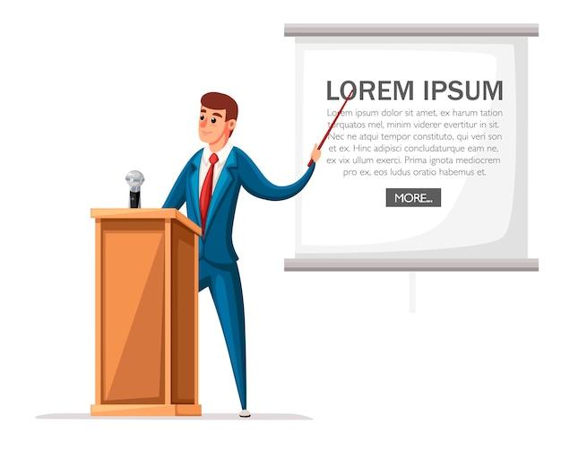 Homem de terno fica na tribuna de madeira com microfone. fazendo um discurso. personagem . ilustração em fundo branco.
