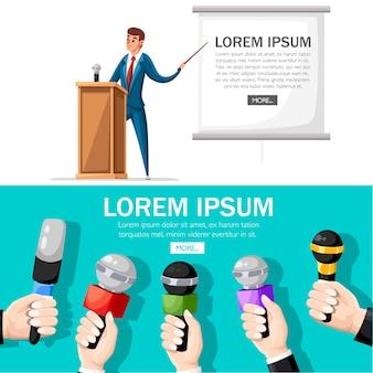 Homem de terno fica na tribuna de madeira com microfone. fazendo uma apresentação com discurso. personagem . ilustração em fundo branco. página do site e aplicativo móvel.