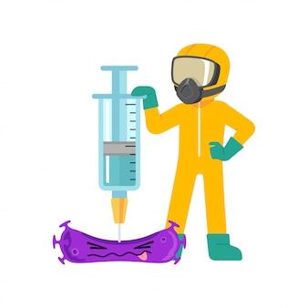 Homem de terno hazmat com seringa de cura de vírus, lutando contra a doença
