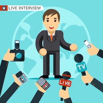 Homem de terno sendo entrevistado. sendo fotografado e gravado em um gravador.