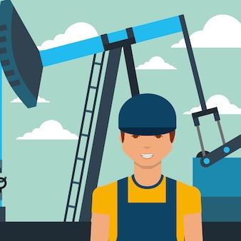 Homem de trabalhador e bomba jack ilustração em vetor indústria de petróleo