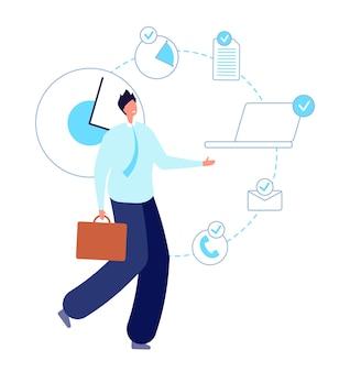 Homem de trabalho multitarefa. empreendedor executivo, empresário inteligente. gerente de planejamento de tempo próprio, ilustração vetorial de funcionário produtivo. produtividade cara workaholic, empresário inteligente sobrecarregado