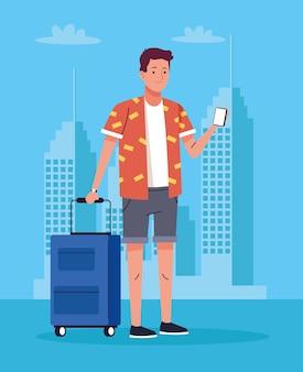 Homem de turista com smartphone e mala no personagem da cidade