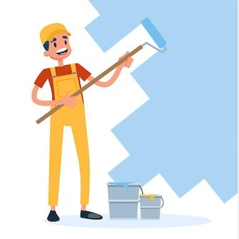 Homem de uniforme pintando a parede com rolo de pintura
