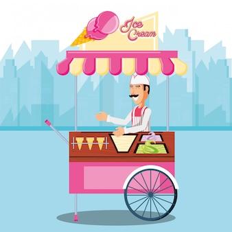 Homem de vendas de sorvete no personagem de quiosque de carrinho