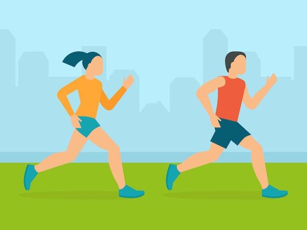 Homem de vetor e mulher correndo maratona