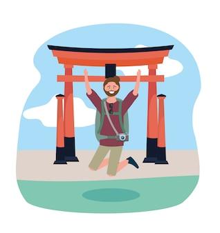 Homem de viagens pulando e tokyo escultura dstination