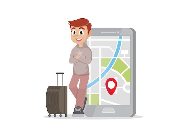 Homem de viajante e seu smartphone para navegar.