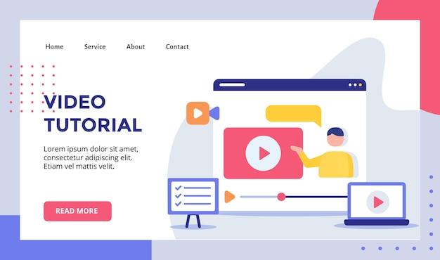 Homem de vídeo tutorial na campanha de reprodução de vídeo para banner de modelo de página inicial de página inicial de web site moderno.