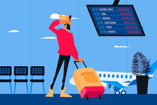 Homem de voo cancelado carregando bagagem