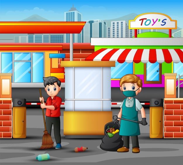 Homem de zelador dos desenhos animados, limpeza de entrada de estacionamento