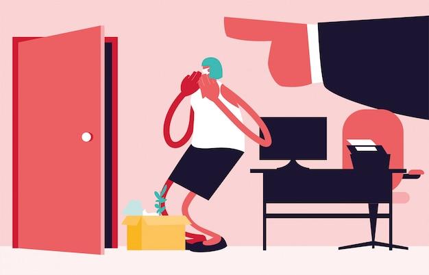 Homem demitido com caixa, chefe grande mão apontando na porta