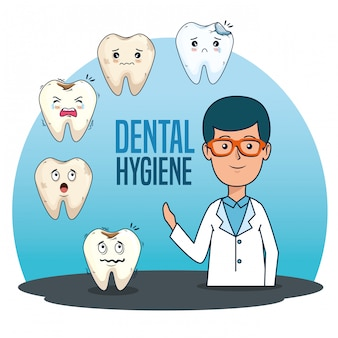 Homem dentista com diagnóstico de medicina de dentes
