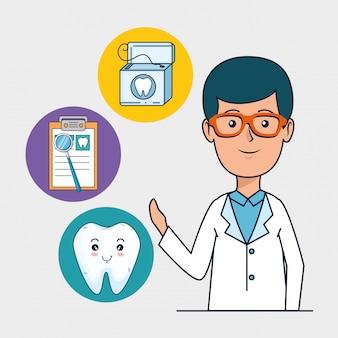 Homem dentista com tratamento de diagnóstico de dente